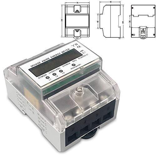 NICCOO 3-Phasen-4-Leiter Elektrizitätszähler, LCD digitaler Drehstromzähler, 3x230/400V 5(80) A GEEICHT Stromzähler direktmessend Wattmeter Energiemessgerät für 35mm DIN Hutschiene