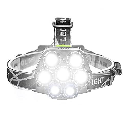MQQ Faro LED, Faros del Cargador Micro USB, Linterna De La Antorcha De Luz Portátil para La Pesca, 25000lm 5 * T6 + 2 * Xpe Torch, para Acampar, Ciclismo, Escalada