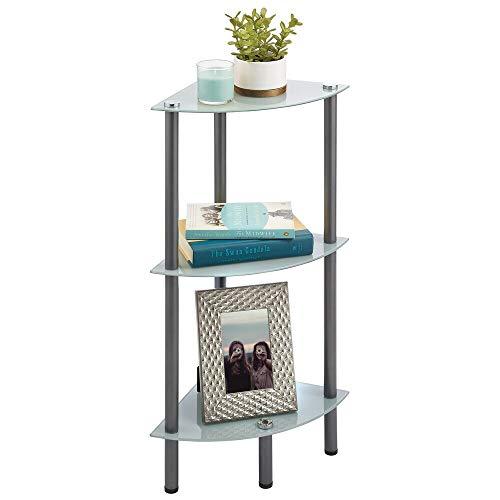 mDesign Mueble esquinero para ahorrar espacio en baños pequeños – Estantería rinconera con 3 estantes de vidrio – Mueble de baño ideal para cosméticos, toallas y accesorios – gris oscuro y gris