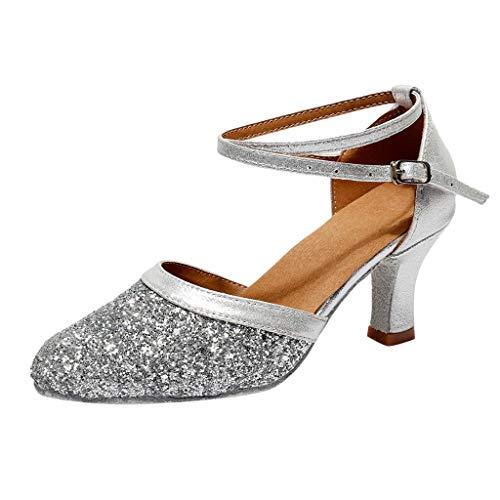 Damen Standard Latein Tanzschuhe Glitzer Mode Elegante Ballsaal Tango Salsa Schuhe Klassische Pumps Brautschuhe Party Hochzeit Weicher Boden Geschlossen Knöchelriemen Celucke (Silber, EU38)