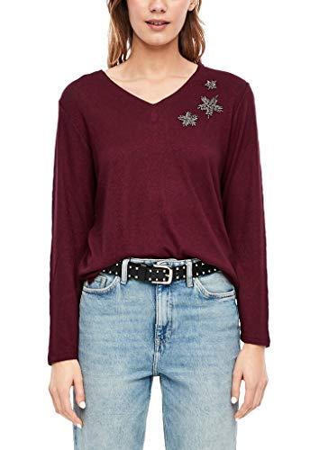 s.Oliver 14.911.31.7182 Camisa Manga Larga, Color Burdeos, 38 (Talla del Fabricante: 36) para Mujer