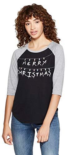 Zoe + Liv Women's Stranger Things 3/4 Sleeve Merry Christmas Raglan Graphic T-Shirt (Black, Large)