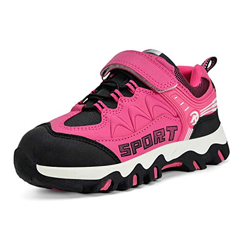 MARSVOVO Boys Girls Hiking Shoes Waterproof Kids Non Slip Boots Anti-Slip Outdoor Running Shoes 3.5 M Big Kid Pink