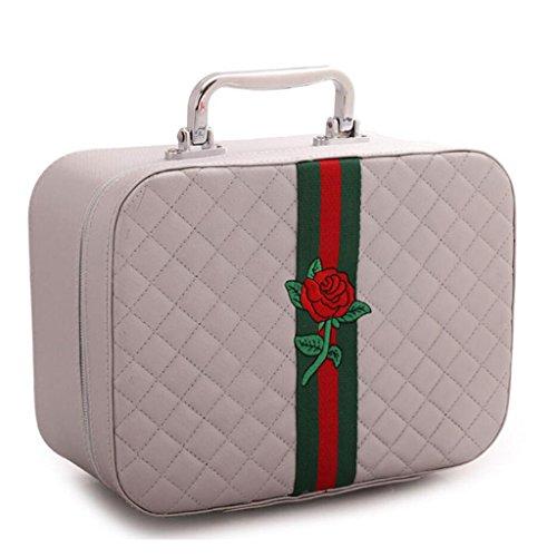 Scatola portaoggetti JT- Sac cosmétique Portable Sac de Voyage étui cosmétique boîte de Rangement pour cosmétiques Durable Large Argent