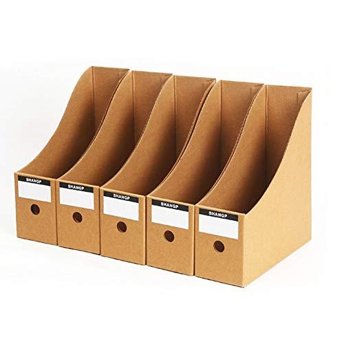 DEDC 5pcs Caja de Almacenamiento de Escritorio de Papel de Oficina con Etiquetas Organizador de Papel Soporte de Documentos Almacenamiento de Archivos Periódicos Revistas en Casa 26x9x27cm