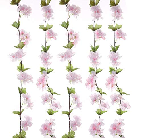 2Pack (14.6 Feet) Artificial Flowers Vines Fake Cherry Blossoms Garland For Home Hotel Wedding Party Garden Craft Art Decor