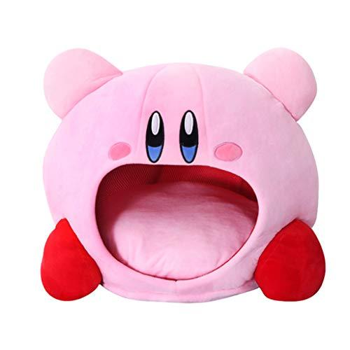 Gorro de felpa Kirby de dibujos animados con peluche para muñeca, almohada para la cabeza, para la siesta del bebé, juguetes de cumpleaños, color rosa
