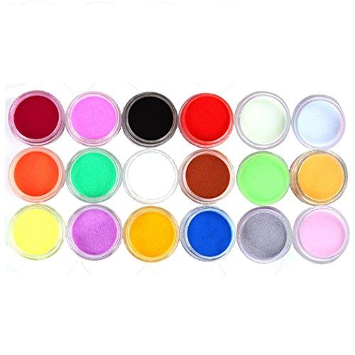 Nail Mirror Powder,Transer ® 18 couleurs sculpture acrylique poudre poussière Gel UV Design 3D conseils décoration manucure Nail Art