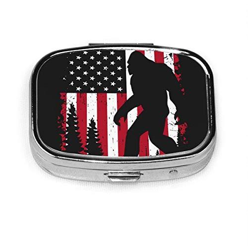 Bigfoot and American Flag Fashion Square Pill Box Organizer Holder Travel Pill Vitamin Decorative Box Case Holder