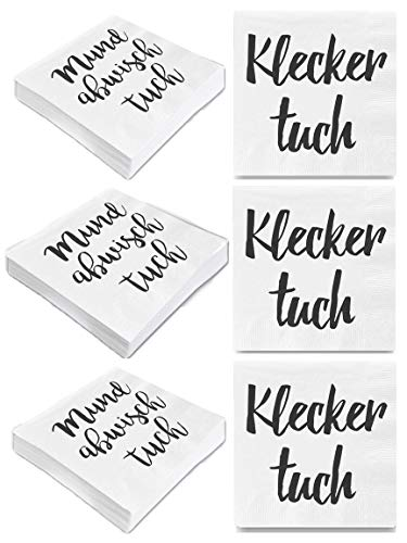 """Bada Bing 6er Set Mit 120 Stück Servietten Spruch Weiß Edel Papierservietten\""""Kleckertuch\""""\""""Mundabwischtuch\"""" 60"""