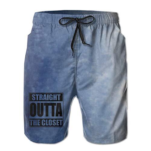 Straight Outta The Closet Gay and Lesbian Pride Men Summer Casual Shorts,Beach Shorts Board Shorts White