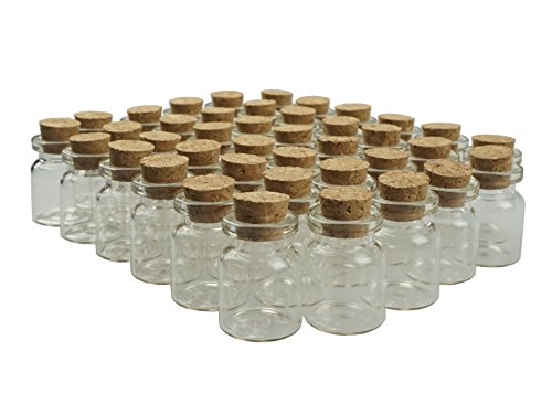 Shxstore 5ml Small Mini Glass Bottles Sample Jars with Cork Stoppers for Art Crafts 22mm x 30mm, Pack of 40