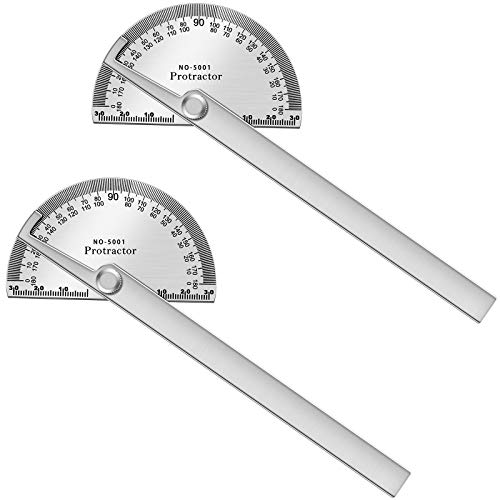 2 Pieces 6 Inch Arm Round Head Protractors Stainless Steel Angle Protractor 0 to 180 Degrees General Measuring Tool Multifuctional Angle Finder Ruler Swing Arm Protractor for Crafts Painting