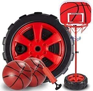 Canastas Baloncesto Infantiles Conjunto De Aro De Baloncesto Interior para Niños Juguetes De Baloncesto |Altura Ajustable 63-130 Cm, Base De Neumáticos con Tubo De Inflación