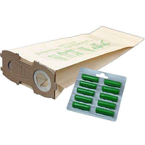 10 Staubsaugerbeutel geeignet für Vorwerk Kobold 118 119 120 121 122, mit EXTRA STARKEM FLANSCH incl. 10 Duftpatronen Dufties
