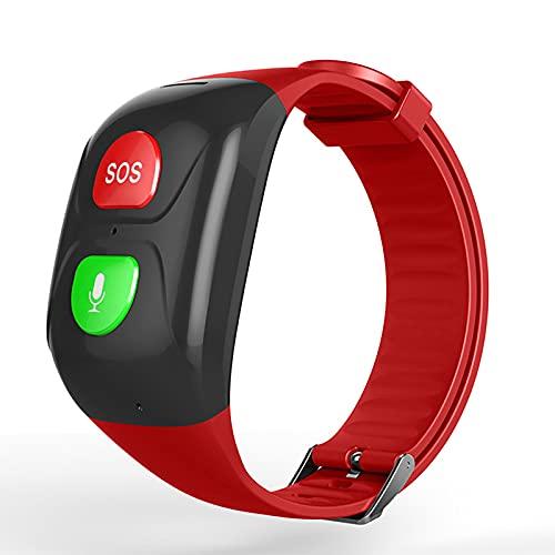 FVIWSJ Pulsera Actividad,smartwatch,Reloj Inteligente Impermeable IP68,Localizador SOS Móvil,Localizador GPS Personas Mayores/Abuelos/Ancianos/niños, Android,iOS,Rojo