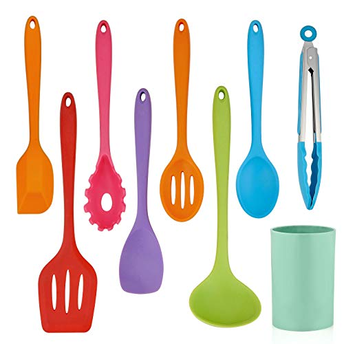 LIANYU 9-Piece Silicone Cooking Kitchen Utensils Set with Holder, Colorful Silicone Kitchen Tools Include Turner Spatula Spoons Soup Ladle Tong, Non Stick Cookware, Dishwasher Safe