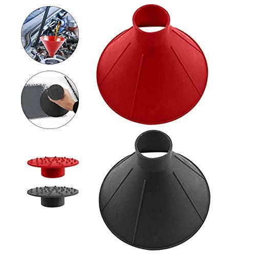 Mosa Store 2 Stück kegelförmiger runder Windschutzscheiben-Eiskratzer magischer Schaber für die Windschutzscheibe im Auto, magischer Trichter zum Entfernen von Schnee und Schnee (schwarz + rot)