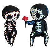 Sugar Skull Couple Figur, Lovely Crafts Resin Sugar Skull Couple Statue Dekoration, Sammlerstück Gothic Liebhaber für Halloween Party Dekoration, romantische Figur Hochzeit Statuette