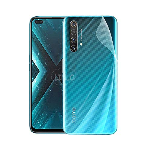 LINLO Compatible for Realme X3 Ultra Thin Slim Fit Clear Transparent 3D Carbon Fiber Back Skin Rear Screen Guard Protector Sticker Protective Film Wrap Not Glass (Carbonn)