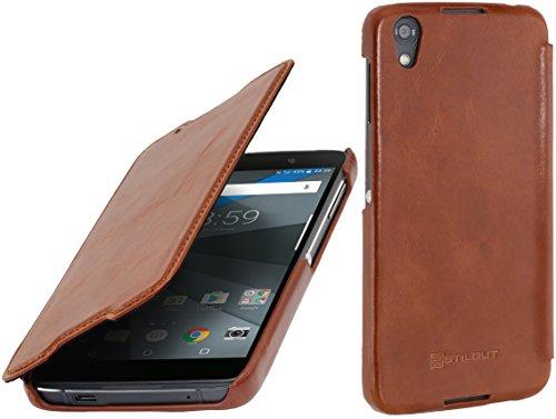 StilGut Book Type Case, Hülle Leder-Tasche für BlackBerry DTEK 50. Seitlich klappbares Flip-Case aus Echtleder für das Original BlackBerry DTEK50, Cognac
