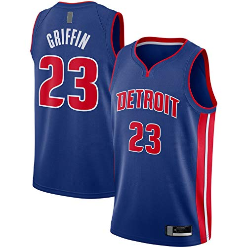 OYFFL Blake Top Sin Mangas Griffin Basketball Jersey Detroit Custom Pistons Bordado #23 2020/21 Swingman Jersey Azul - Icono Edition-XXL