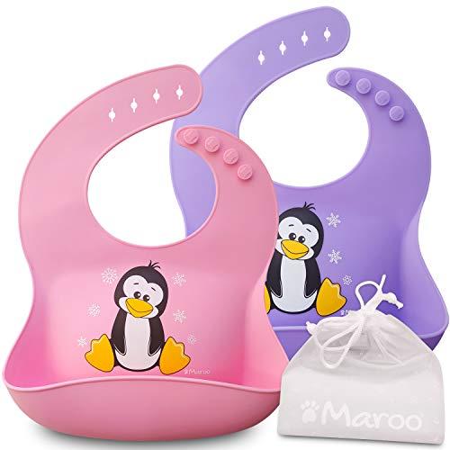 Bavaglini impermeabili in silicone alimentare di alta qualità per neonati e bambini da 6 mesi a 4 anni, ampia tasca, morbidi, comodi da pulire, ripiegabili nella borsetta in regalo. Ideali per l'asilo