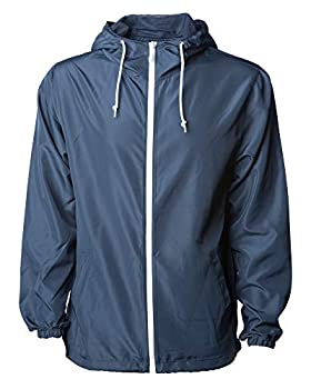 Global Men s Hooded Lightweight Windbreaker Winter Jacket Water Resistant Shell  Navy/White Large