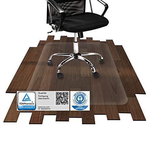 etm® Bodenschutzmatte transparent - 116x120 cm | TÜV und Blauer Engel | für Laminat, Parkett, Fliesen und Hartböden