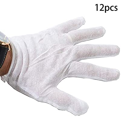 Disposable Cotton Gloves 12 Pairs of Regular Soft White Blend Gloves Comfortable Protective Convenient Comfortable Mechanic Tatoo Latex Gloves PVC Gloves Powder Free Gloves Exam Gloves