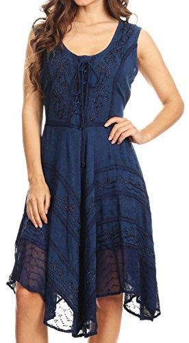 Sakkas 123 Sundara Stonewashed Rayon Mid Length Dress - Navy - 1X/2X