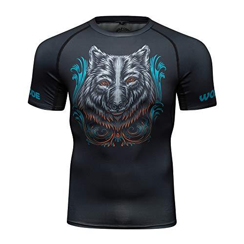 Wolf Code Fightwear Short Sleeve Rash Guard for BJJ, MMA, Wrestling, Nogi Grappling (Small) Black