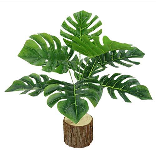 Yanyan Plantas artificiales Bonsái 9 hojas de tortuga, hojas octagonales, plantas artificiales, plantas decorativas de pared, flores y plantas de plástico toque de la hoja bonsái artificial