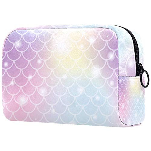 Bolsa de maquillaje para mujer de acuarela cosmética práctica bolsa con cremallera bolso de mano sirena escamas de pescado