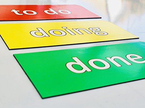 3 magnetische Kanban Karten / 13,5 cm breit und 6 cm hoch/to do, doing und done/z.B. fuer agiles Projektmanagement (Scrum Board, Kanban Tafel, Agiles Board, Project Board, Lean Board, Task Board)