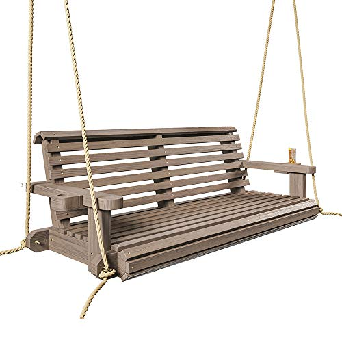 Porchgate Amish Heavy Duty 800 Lb Roll Comfort Treated Porch Swing W/ Ropes (4 Foot, Warm Walnut Stain)