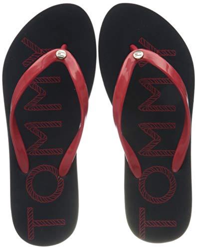 Tommy Hilfiger Tommy Footbed Flat Beach Sandal, Sandalias con Punta Abierta Mujer, Rojo (RWB 0kp), 39 EU