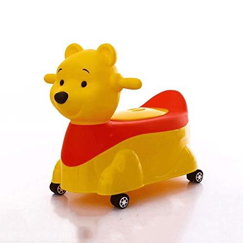 Kensd Stile sveglio degli animali Vasino Poltroncina 2-in-1 for bambini Twist quattro ruote automobile con musica Vasino Poltroncina sedile con rimovibile interno Potty (Color : Yellow)