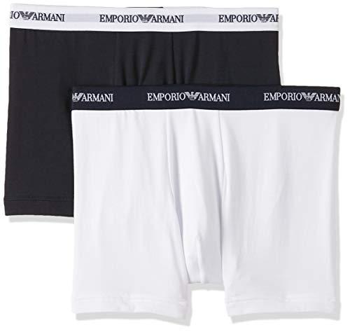 Emporio Armani Underwear Herren 111268CC717 Boxershorts, Mehrfarbig (Bianco/Marine 10410), Small (2er Pack)