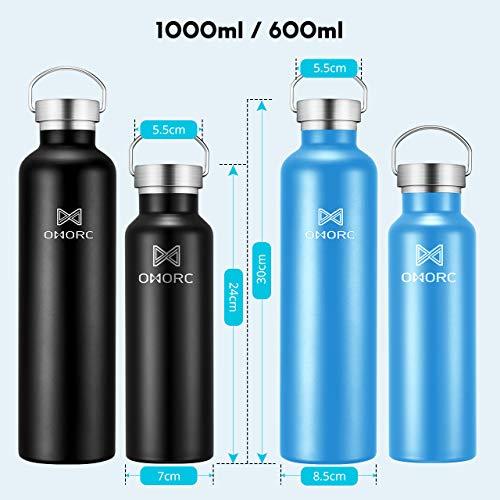 OMORC Bottiglia Acqua in Acciaio Inox 1000ML/600ML,Borraccia Termica Isolamento Senza BPA Anti-Condensazione Freddo 28 Ore & Caldo 14 Ore,2 Cappuccio Intercambiabili