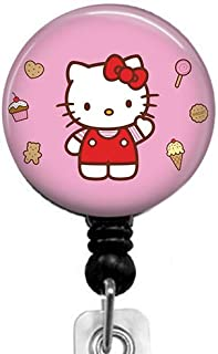 Hello Kitty Badge Reel,Retractable Name Card Badge Holder with Alligator Clip, Medical MD RN Nurse Badge ID, Badge Holder