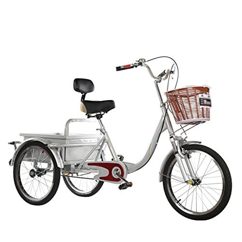 Dreirad Für Erwachsene Mit Korb, 20 Zoll 3 Radfahrräder Erwachsene Senioren Cruiser Bike, Dreirad Fahrräder Für Frauen Männer Anfänger, Verschleißfestes Sattel(Color:Silber-)