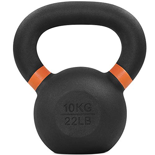 Yes4All Powder Coated Kettlebell Weights with Wide Handles & Flat Bottoms – 6kg/13lbs Cast Iron Kettlebells for Strength, Conditioning & Cross-Training