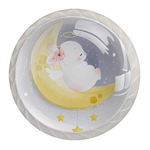4 Niños Perilla de cajón luna conejo durmiendo perilla del gabinete de muebles perilla de puerta del mueble de Cristal mango fijado con tornillos de los 35mm