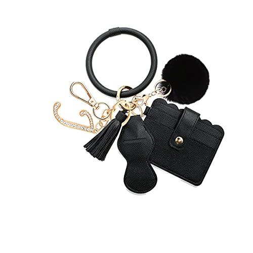 Llavero de pulsera con diseño de borla y colgante de letra inicial para mujer