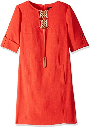 Tahari by Arthur S. Levine - Dress - 3/4 Sleeve Tassle Front Sheath Womens 10