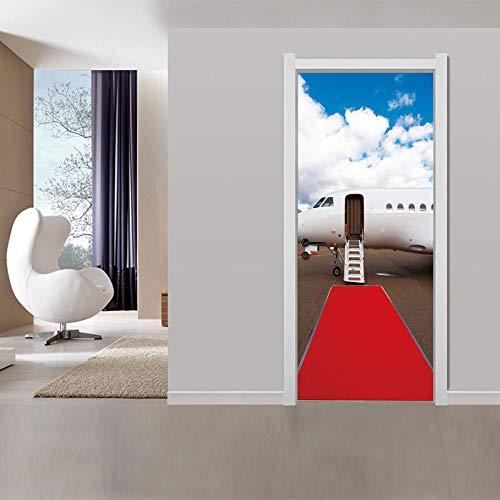 Tür Fotoroter Teppich Reise Flugzeug 3D Tür Aufkleber Dekoration Wandaufkleber Selbstklebend Wasserdicht Abnehmbare Aufkleber