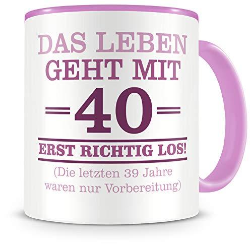 Samunshi® Taza con texto en alemán graciosos regalos para el 40 cumpleaños hombre mujer abuelo idea de regalo para 40 cumpleaños (40 años 300 ml rosa/rosa)