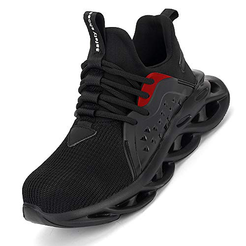 [Aoop] メンズ 安全靴 作業靴 ハイカット おしゃれ スニーカー メッシュ 鋼先芯 滑り止め セーフティーシューズ 軽量 通気性 耐摩耗 絶縁 ワーキングシューズ レディース 808/ブラック/37