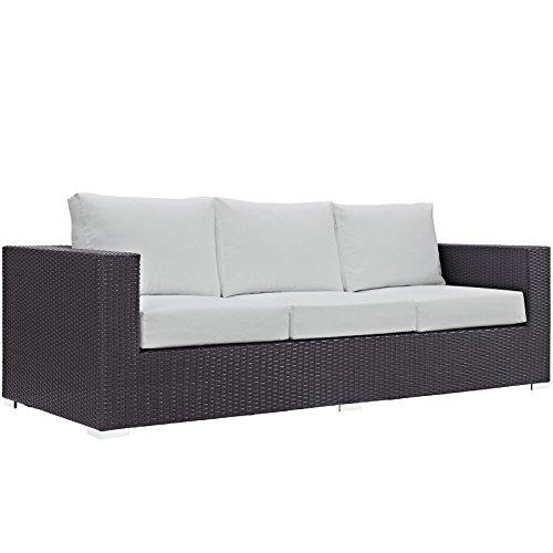 Modway Convene Wicker Rattan Outdoor Patio Sofa in Espresso White